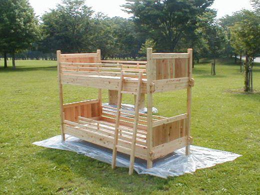国産桧無垢集成2段ベッド